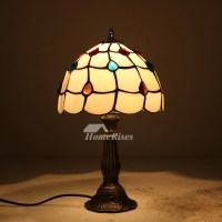 Antique Tiffany Lamps Stained Glass Wrought Iron Fixture ...