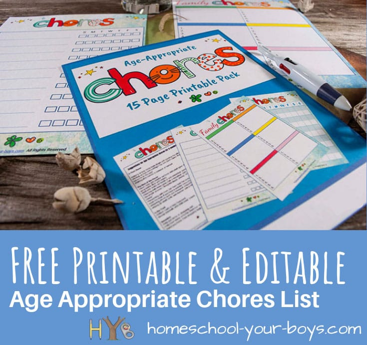 FREE Printable  Editable Age Appropriate Chores List