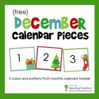 December Pocket Chart Calendar Numbers