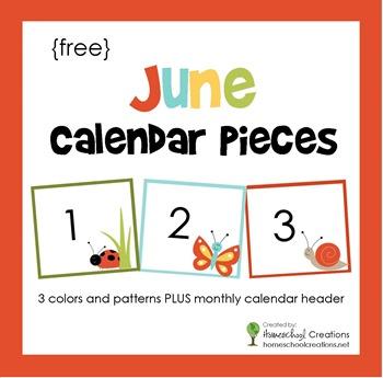June Pocket Chart Calendar Pieces - FREE Printable
