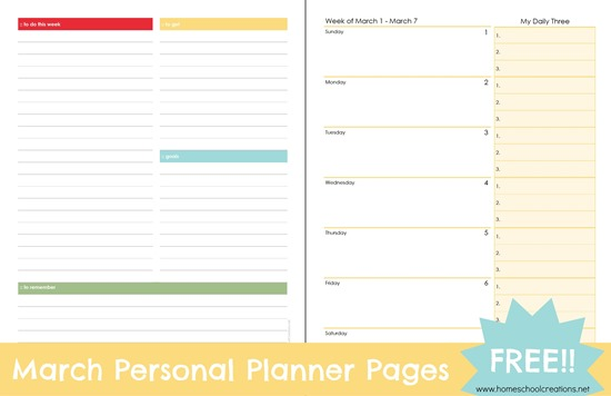 Free Printable ~ March Personal Planner Pages
