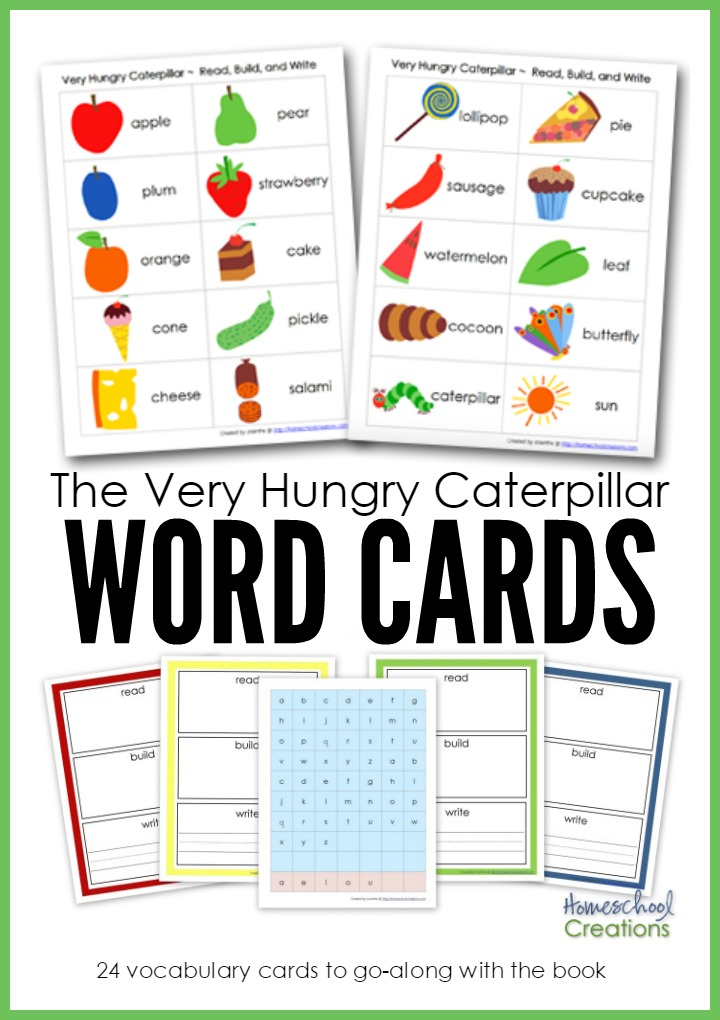 The Very Hungry Caterpillar Word Cards - FREE Printable - vocab cards