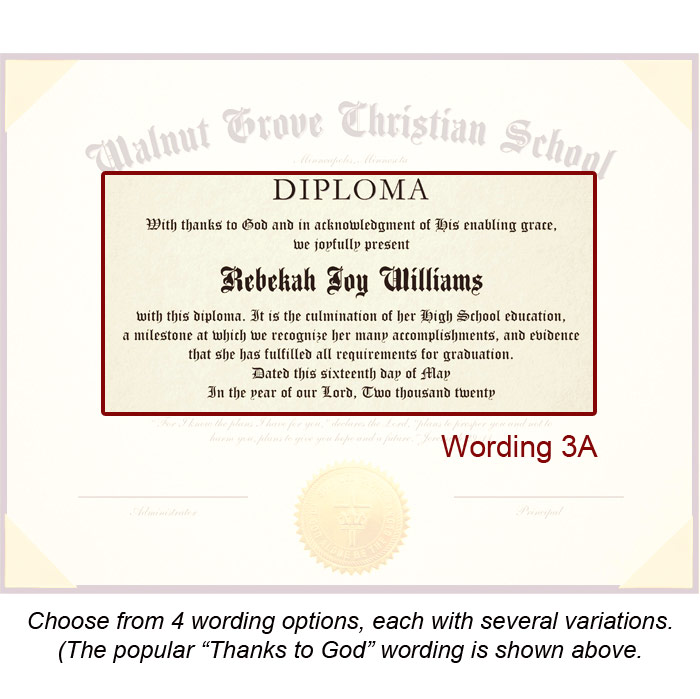 High School Diploma for Homeschool, Includes Deluxe Diploma Cover, 6 - high school diploma wording