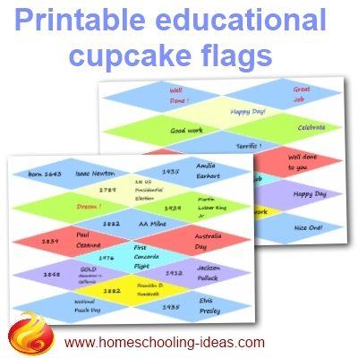 Cupcake Flags - Printable Toothpick Pennants