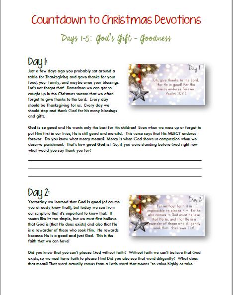 Countdown to Christmas Devotion