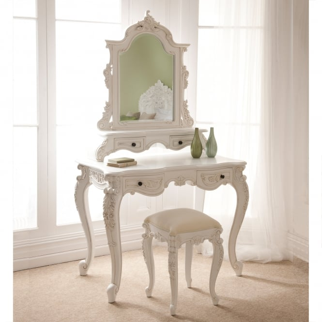 Rococo Antique French Dressing Table Set Antique White