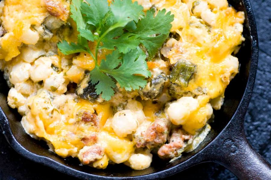 Green chile hominy casserole with chorizo | Homesick Texan