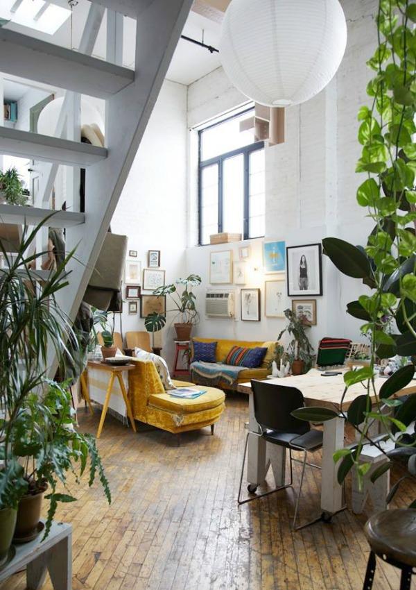 homestilo | loft open space | living room | dining area | brooklyn loft | house plants | gallery wall | via freunde von freunden