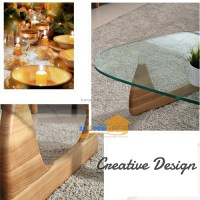 Creative Triangle Wood and Glass Living Room Coffee Table
