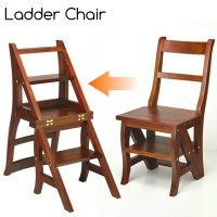 Step Ladder Chair Solid Wood Folding Step Stool Chair ...