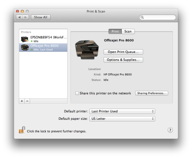 Printer setup om MacBook Air