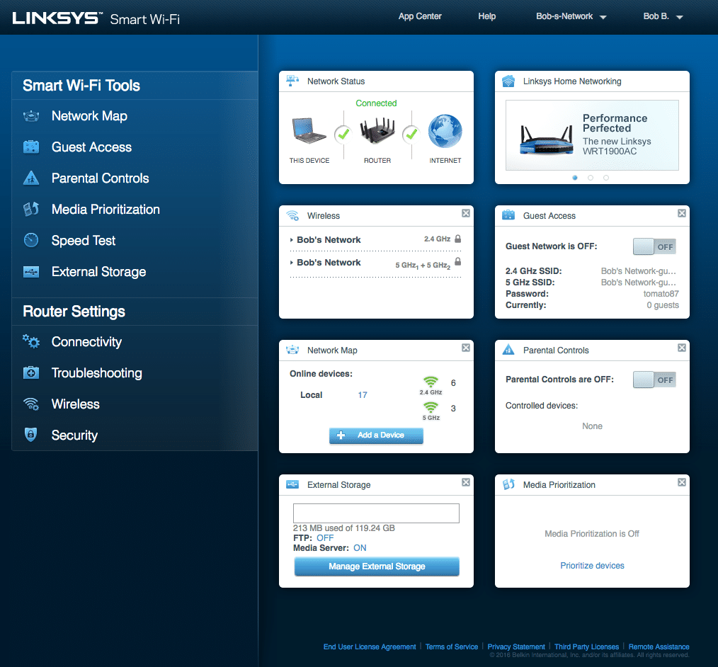 Linksys Smart WiFi web app