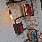 Industrial Pipe Corner Shelf with Pendant Lighting 2