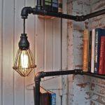 Industrial Pipe Corner Shelf with Pendant Lighting 3