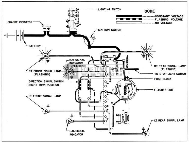 1951 Buick Direction Signal Lamp Circuit Diagram, Right Turn