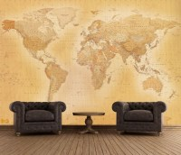 Giant vintage world map wallpaper murals | Online store