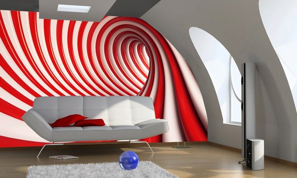 Home wall wallpapers in red and white