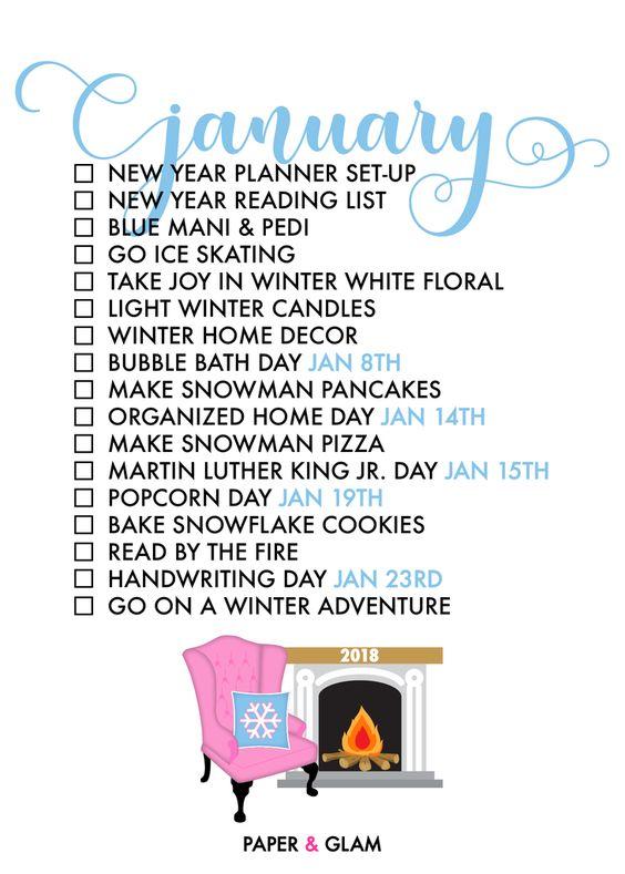 January 2018 to-do list inspiration Home with a Twist
