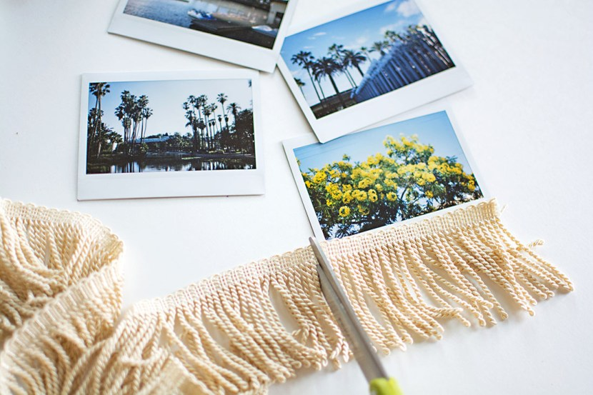 Cut fringe trim to the width of your photos for embellishing.