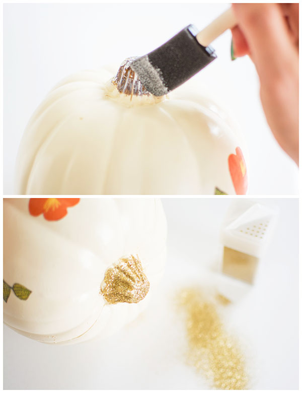Glittered pumpkin stem
