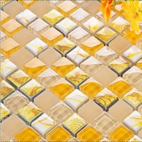 yellow glass mosaic tile forsted glass hand painted art ...
