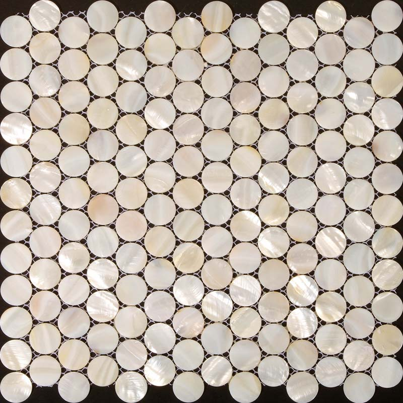 Mother of Pearl Tiles Penny Round Bathroom Wall Mirror Tile