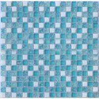Cream Stone Crackle Crystal Tile Backsplash Blue Glass ...