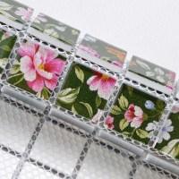 Puzzle Mosaic Wall Tiles for Backsplash Flower Pattern Design