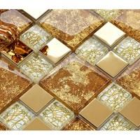 crystal glass mosaic plated tiles art design wall tile ...
