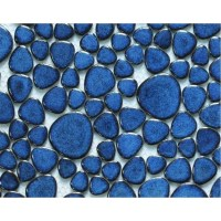 Glazed Porcelain Tile Mosaic Pebble Blue Ceramic Wall ...