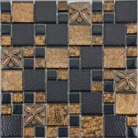 Black Porcelain Mosaic Tile Designs Gold Glass Tiles ...