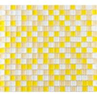 Yellow and White Glass Mosaic Glossy Tile Backsplash Wall ...