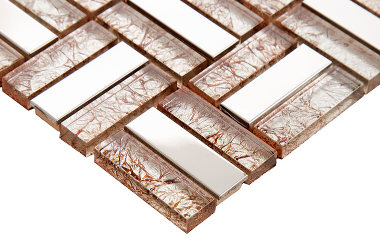 Cream Crystal Glass Tile Silver 304 Stainless Steel Cheap