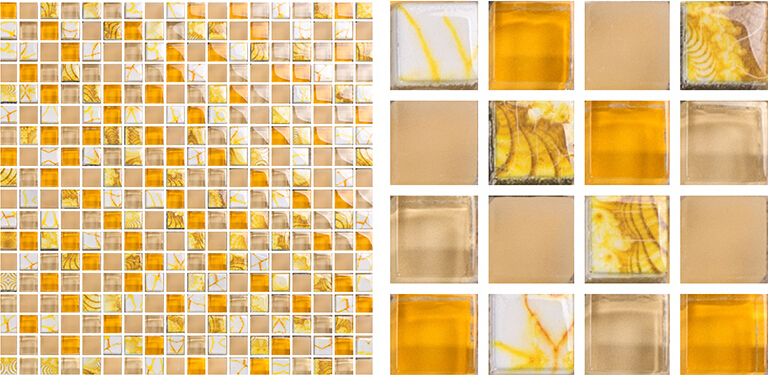 Yellow Glass Mosaic Tile Forsted Glass Hand Painted Art