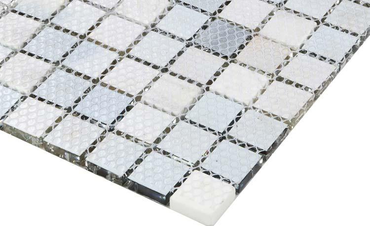 Blue Glass Mosaic Crackle Crystal Tile Backsplash Cream