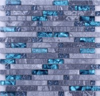 Grey Marble Stone Blue Glass Mosaic Tiles Backsplash ...