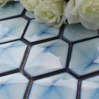 Blue Porcelain Tile Hexagon Glazed Mosaic Kitchen and ...