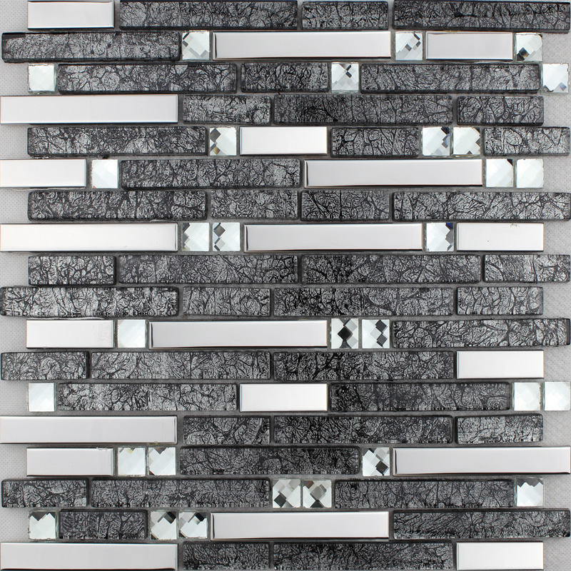 3d Pyramid Wallpaper Brown Glass And Stainless Steel Silver Mosaic Wall Tile