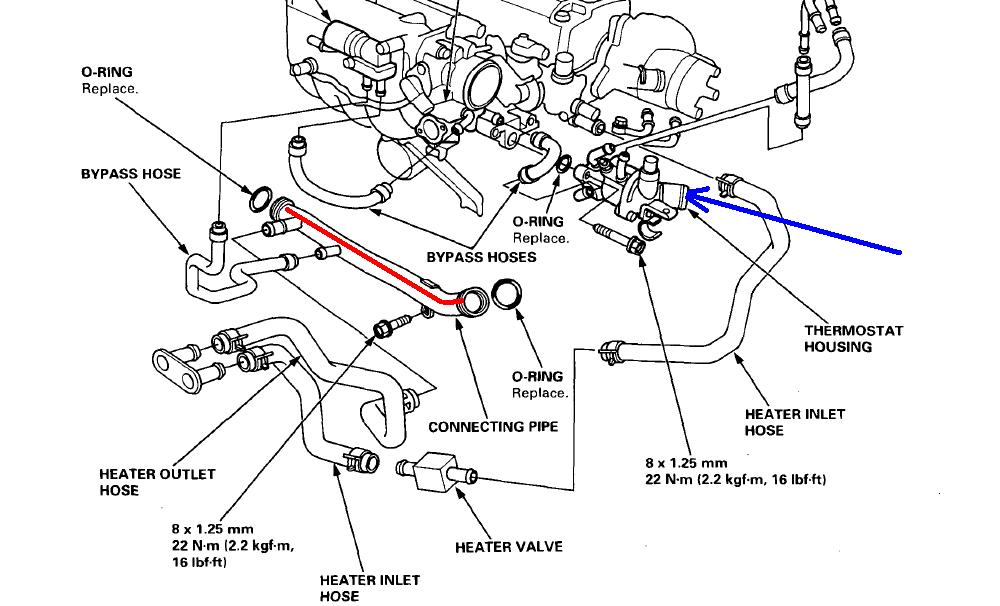 2001 honda accord heater hose diagram