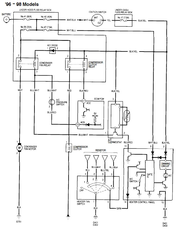 1998 honda civic starter wiring diagram