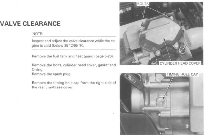 Valve adjustment procedures TRX 450 all - Honda Foreman Forums