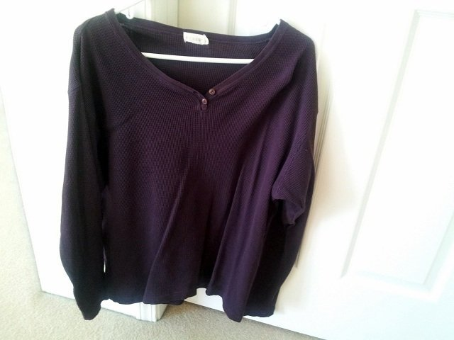 way too big purple waffle knit henley