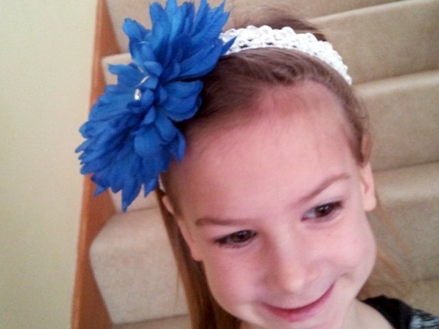 Giant Blue mum hair clip with headband