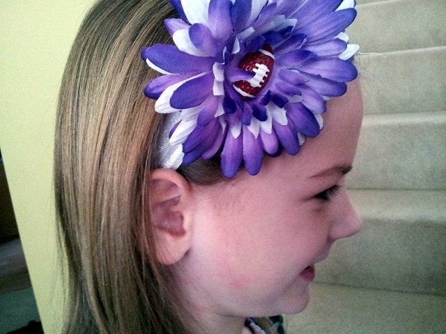 Purple flower football heaband