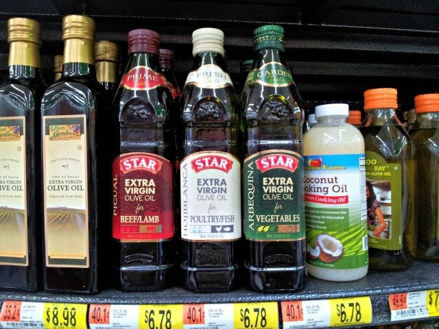 Star olive oil on the shelf at Walmart