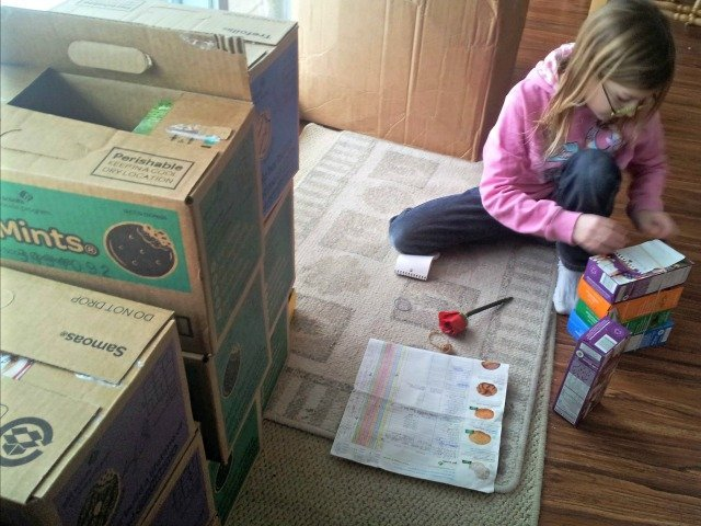 Prepping Girl Scout cookies for delivery