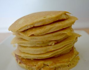 Stack of oatmeal pancakes