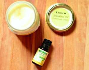 Homemade DIY deodorant cream with lemon essential oil