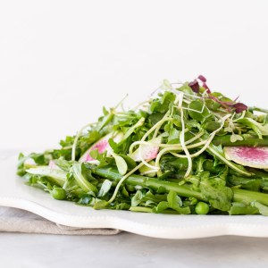 Spring Pea, Arugula, and Asparagus Salad with Meyer Lemon and Honey Shallot Dressing