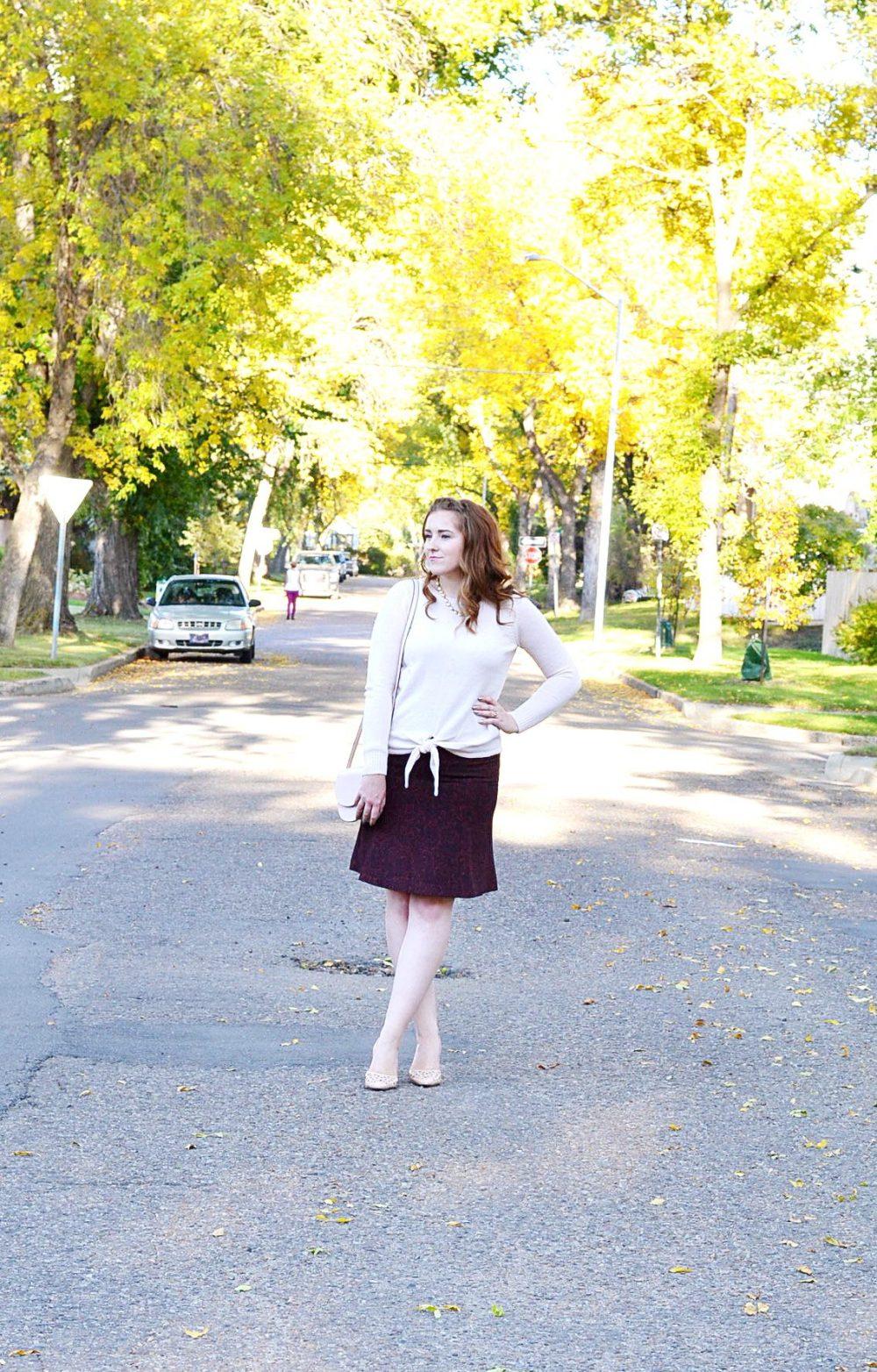 Loft skirt and pink blush Simons sweater